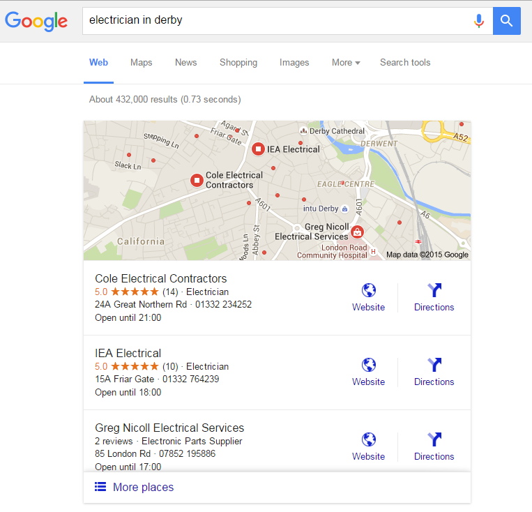 Local SEO Results Derby